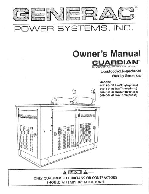 GENERAC LIQUID COOLED PREPACKED GENERATOR OWNERS MANUAL (0C2159)