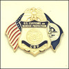Customs and Border Protection Officer Mini Badge and Flags Magnet