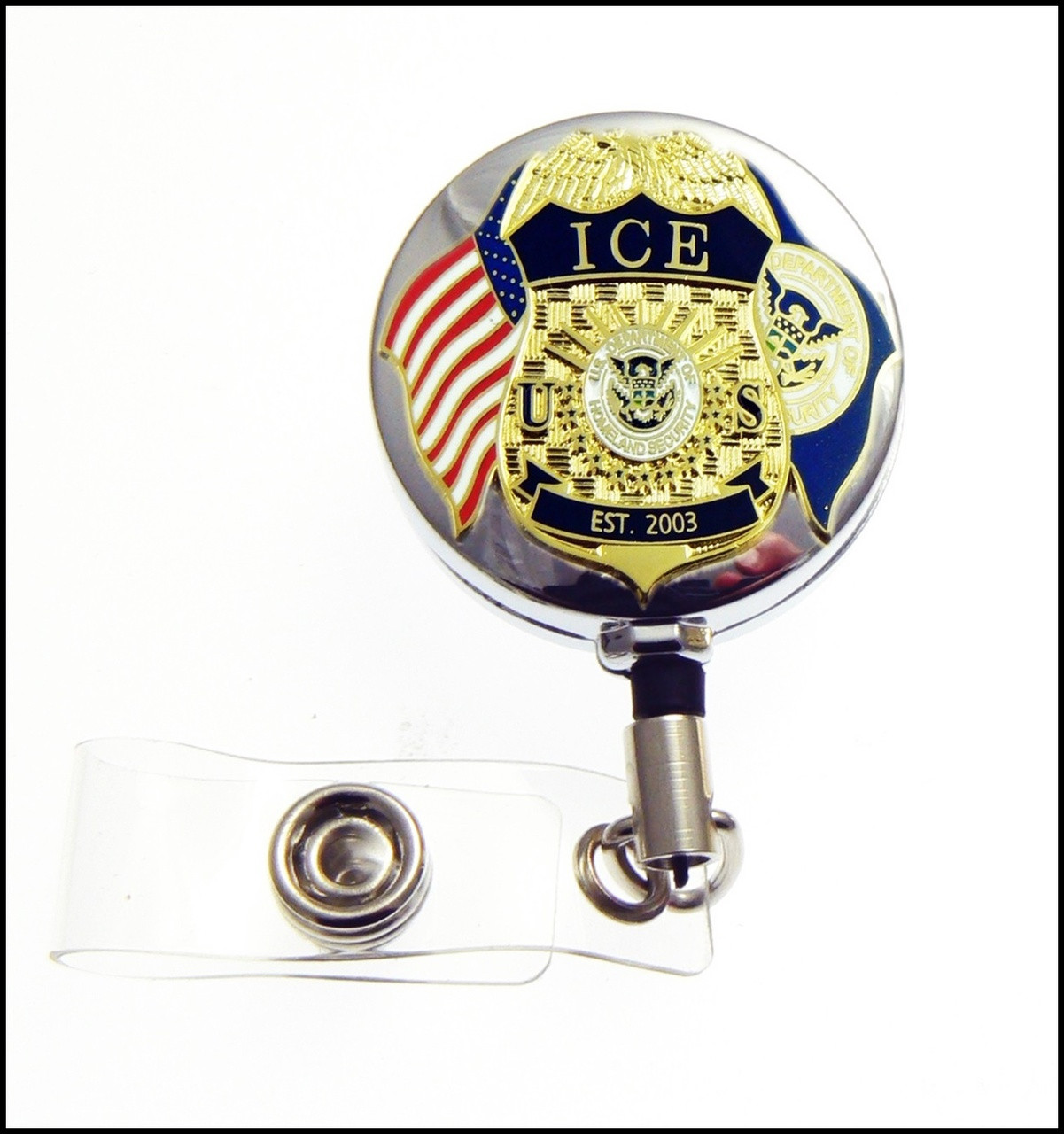 ICE Mini Badge and Flags ID Holder in Chrome