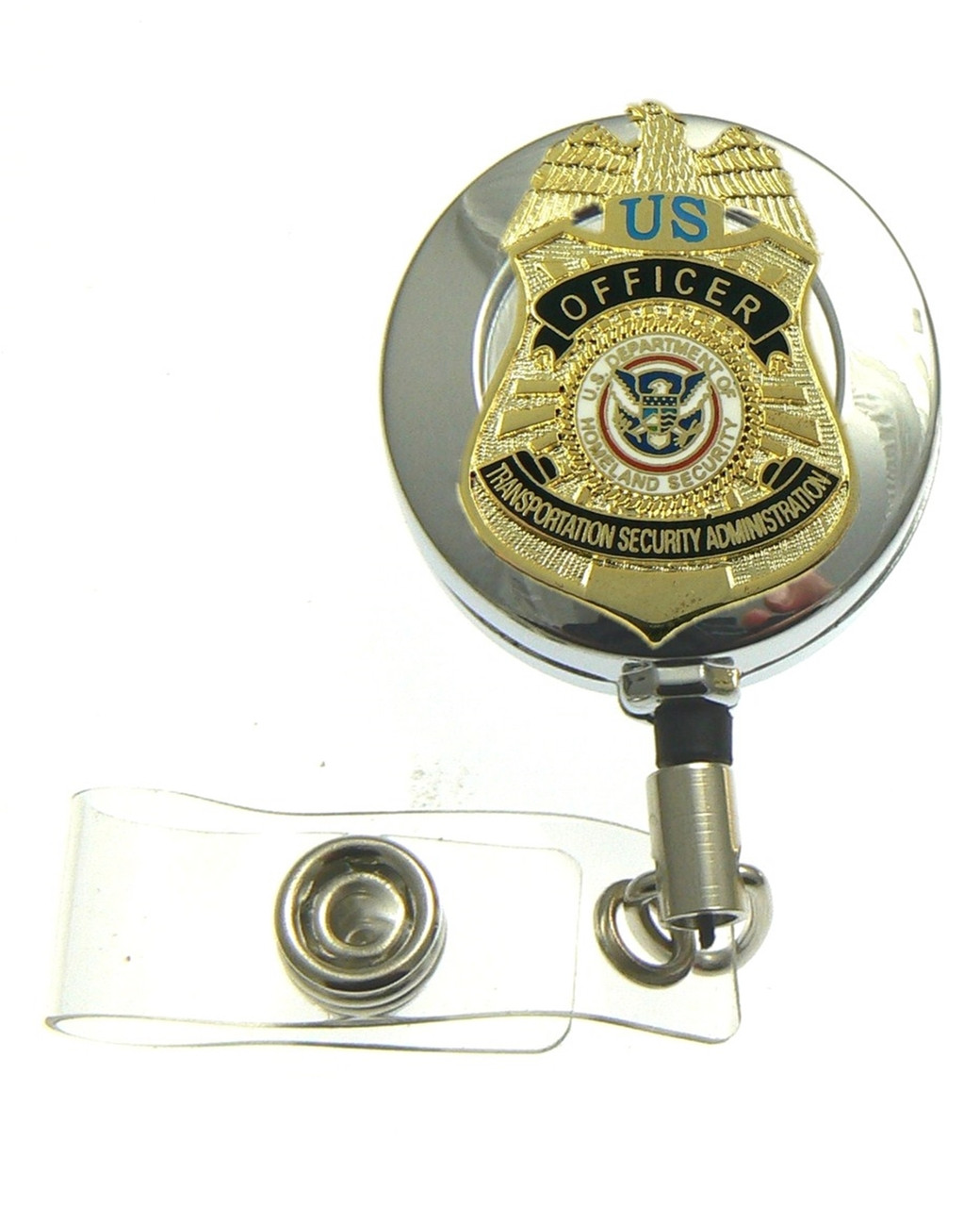 TSA Officer Mini Badge Retractable ID Reel Badge Holder