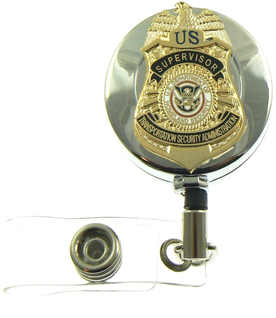 TSA Supervisor Mini Badge Retractable ID Reel Badge Holder
