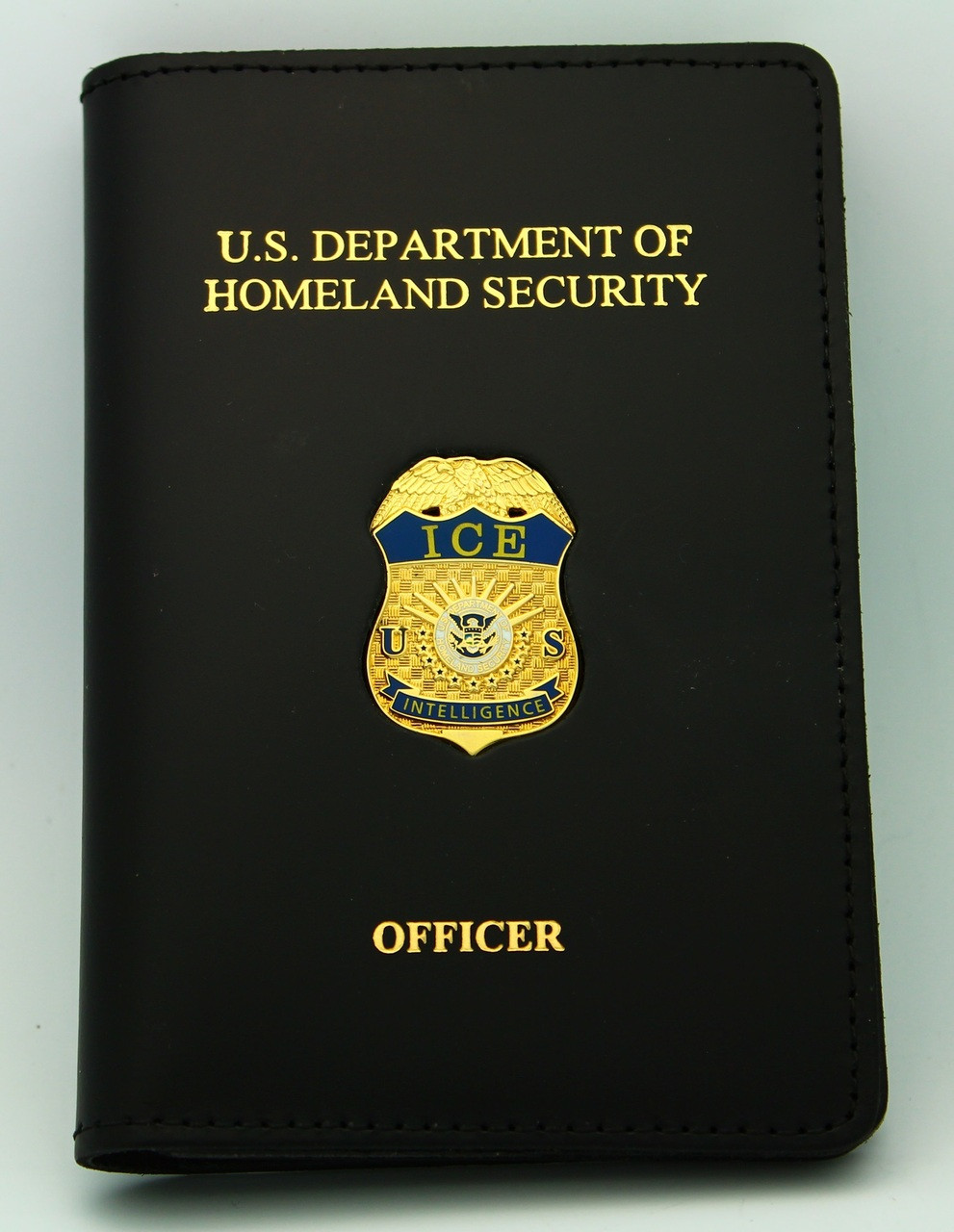 Immigration and Customs Enforcement Intelligence Officer Credential Case with ICE Intelligence Mini Badge Pin and Embossing