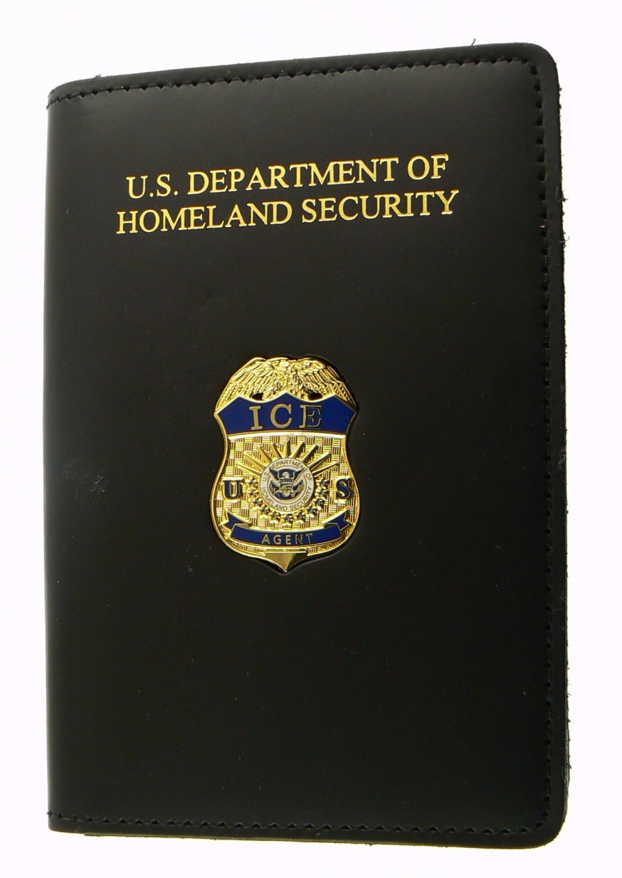 Immigration and Customs Enforcement Agent Credential Case with an ICE Agent Mini Badge Lapel Pin