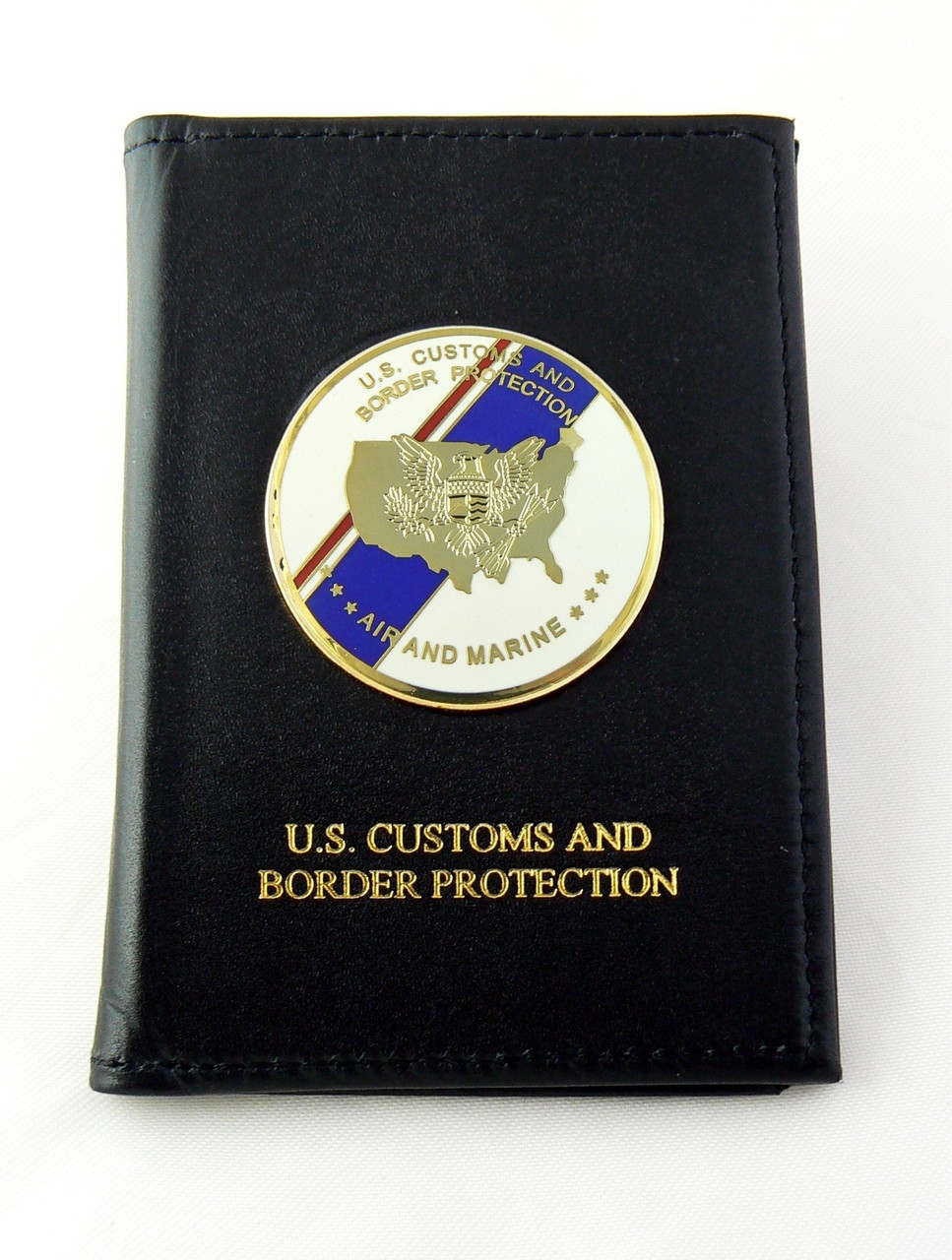 Air and Marine Operations Embossed Dress Leather Badge and Credential id case with Flag Medallion