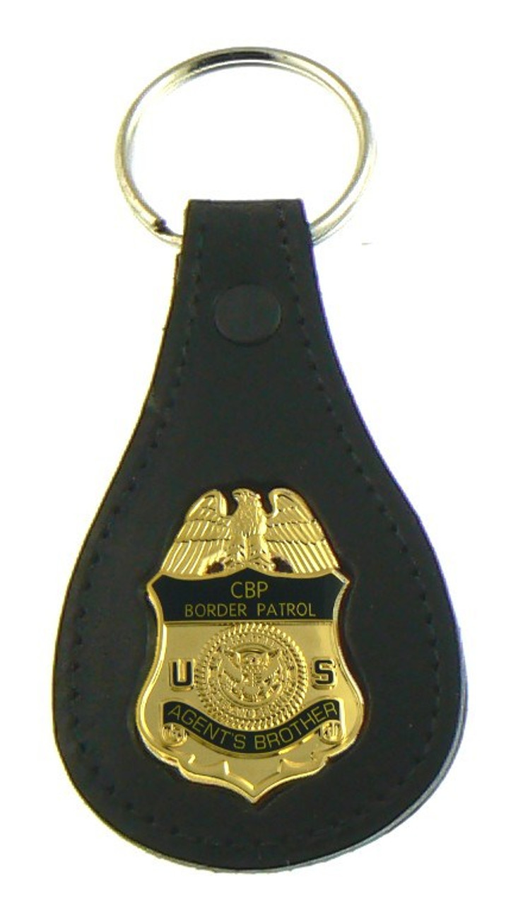 "U.S. Border Patrol Agent ""Agents Brother"" Mini Badge Leather Key Ring"