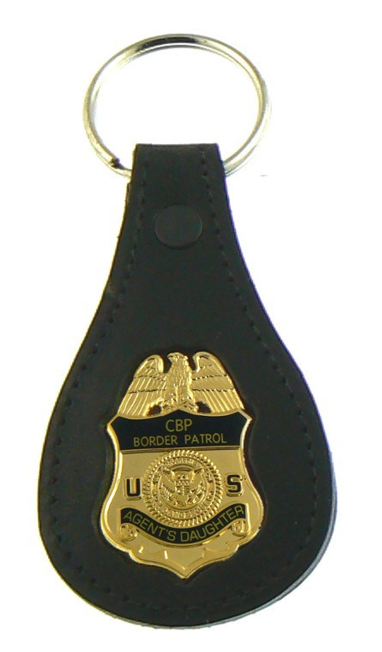 "U.S. Border Patrol Agent ""Agents Daughter"" Mini Badge Leather Key Ring"