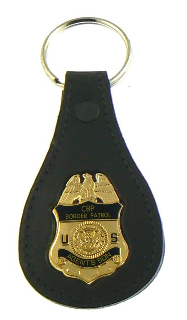 "U.S. Border Patrol Agent ""Agents Son"" Mini Badge Leather Key Ring"