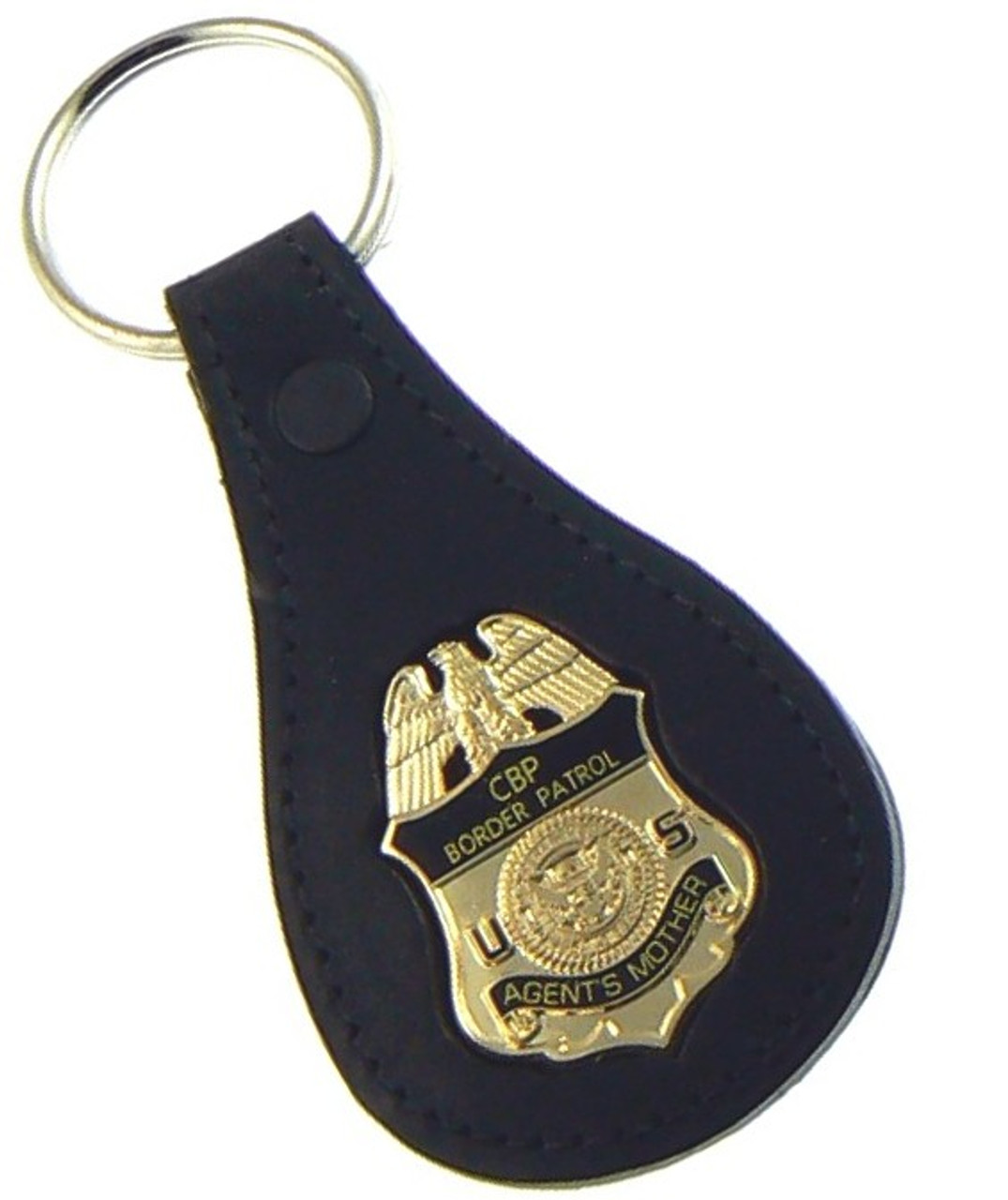 "U.S. Border Patrol Agent ""Agents Mother"" Mini Badge Leather Key Ring"