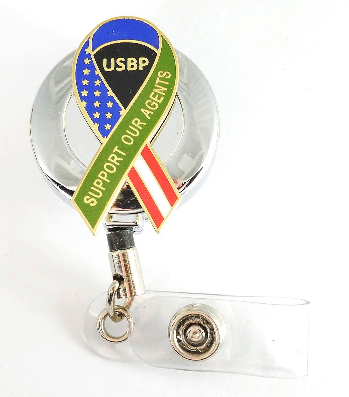"""Chrome U.S. Border Patrol """"Support Our Agent's"""" Ribbon Retractable ID Reel"""
