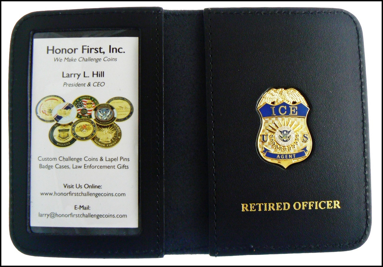 Immigration and Customs Enforcement Agent Mini Badge ID Wallet with Retired Officer Embossing