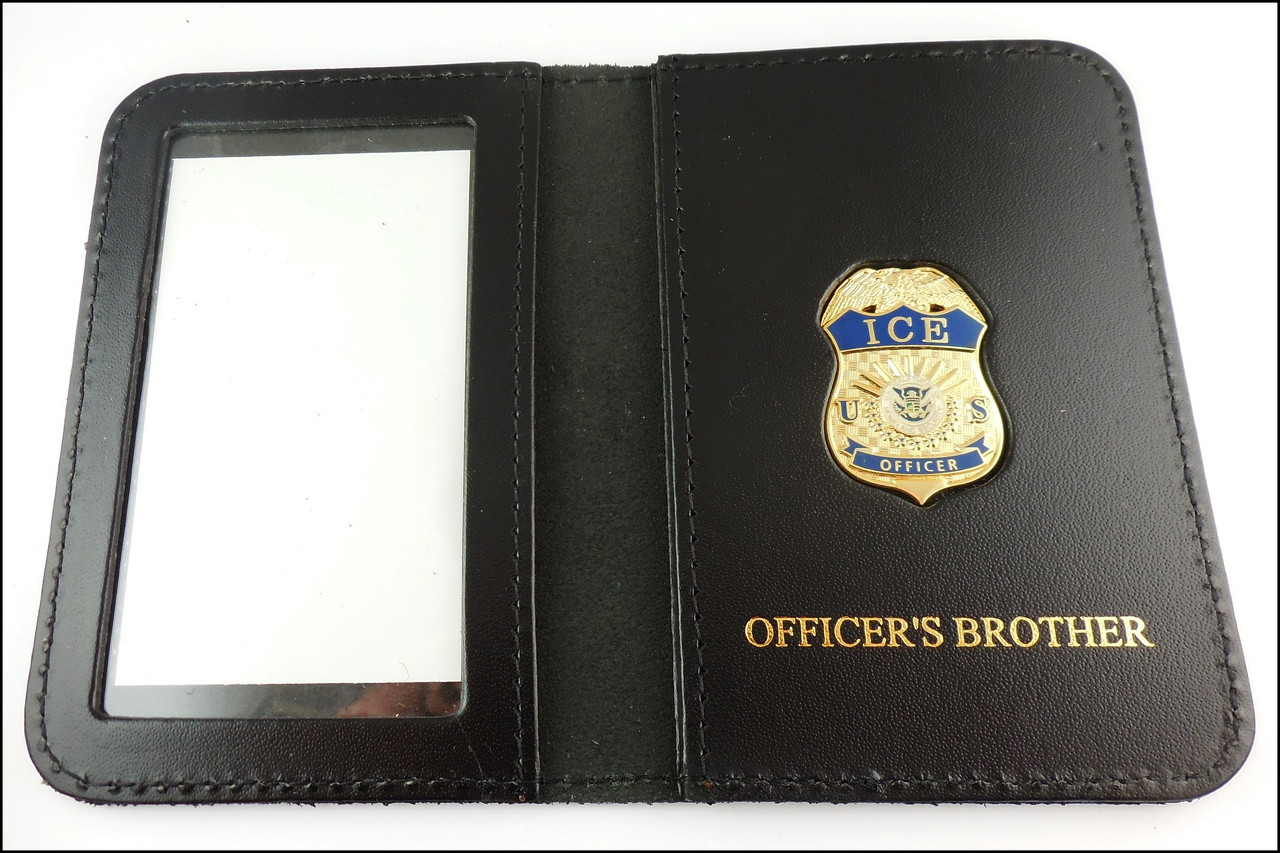 Immigration and Customs Enforcement Officer Mini Badge ID Wallet with Officer's Brother Embossing