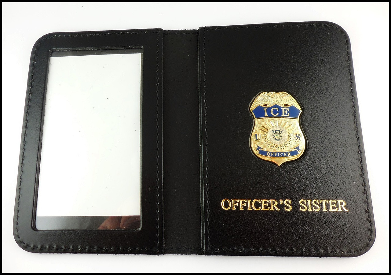 Immigration and Customs Enforcement Officer Mini Badge ID Wallet with Officer's Sister Embossing