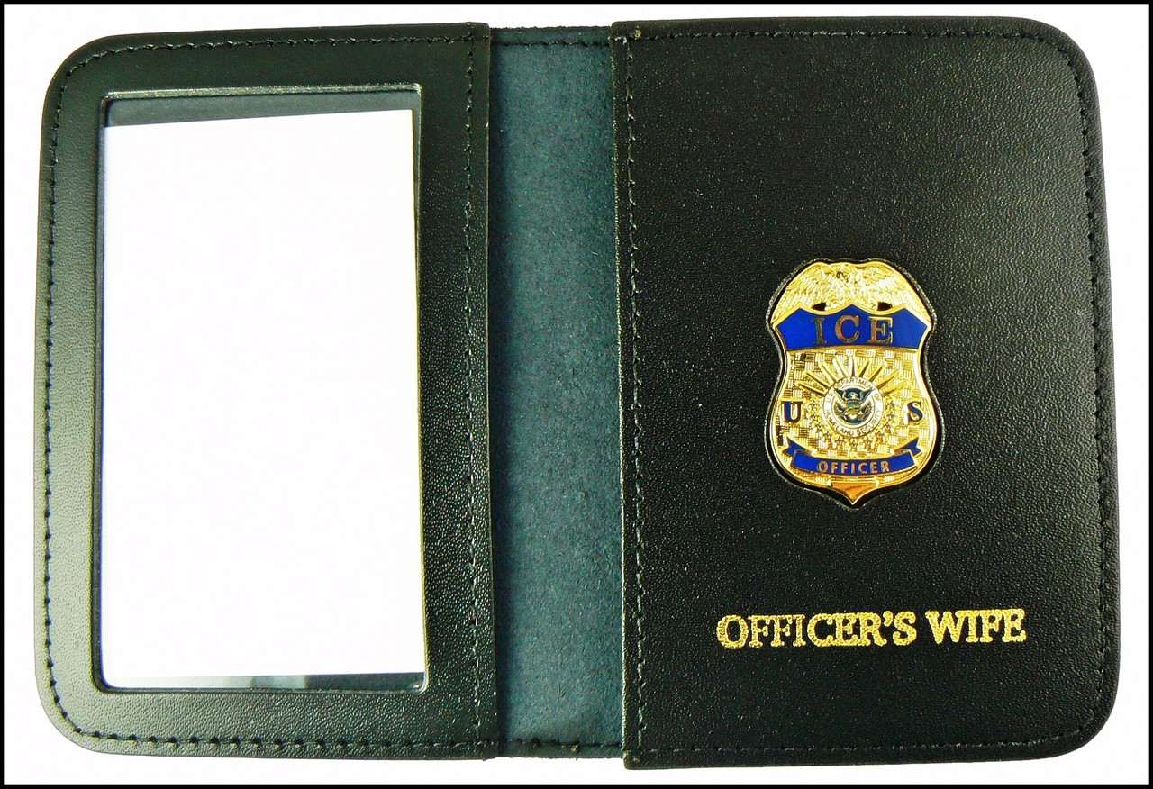 Immigration and Customs Enforcement Officer Mini Badge ID Wallet with Officer's Wife Embossing