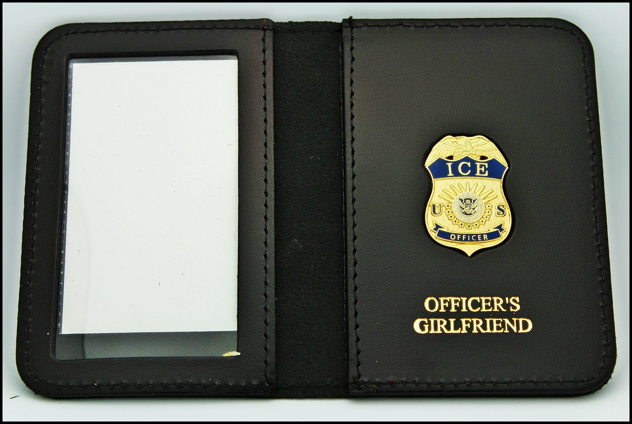 Immigration and Customs Enforcement Officer Mini Badge ID Wallet with Officer's Girlfriend Embossing