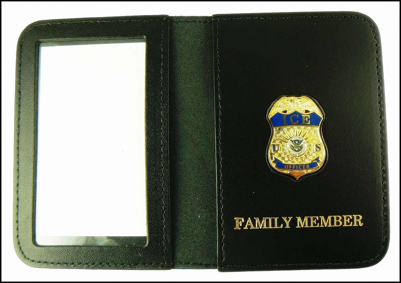 Immigration and Customs Enforcement Officer Mini Badge ID Wallet with Family Member Embossing