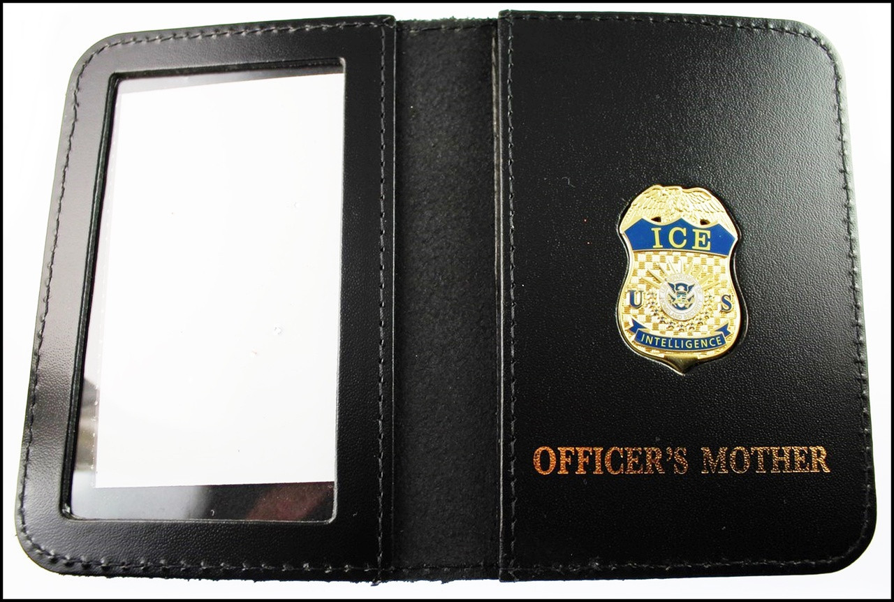 Immigration and Customs Enforcement Intelligence Officer Mini Badge ID Wallet with Officer's Mother Embossing
