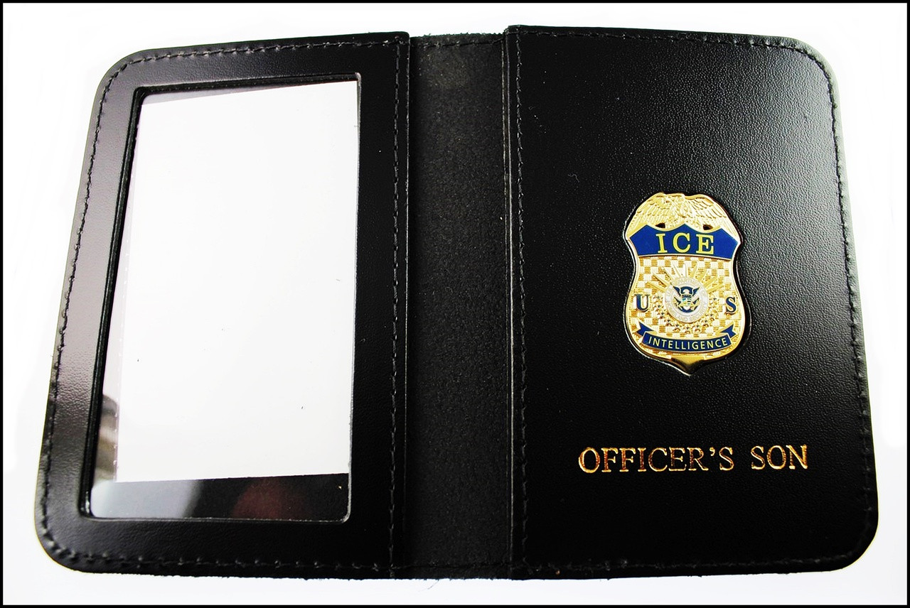 Immigration and Customs Enforcement Intelligence Officer Family Member ID Wallet with Officer's Son Embossing
