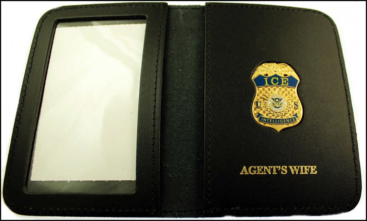 Immigration and Customs Enforcement Intelligence Family Member ID Wallet with Agent's Wife Embossing