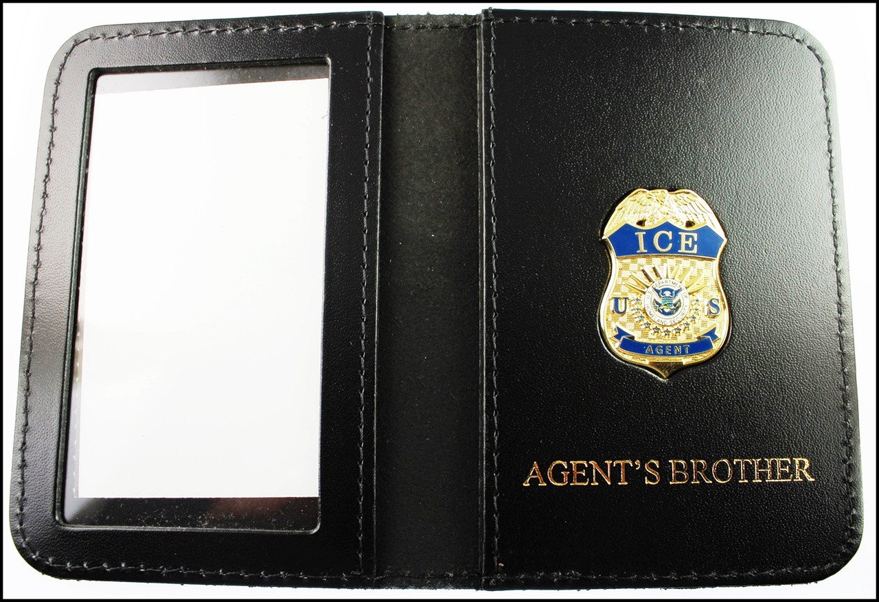 Immigration and Customs Enforcement Agent Mini Badge ID Wallet with Agent's Brother Embossing