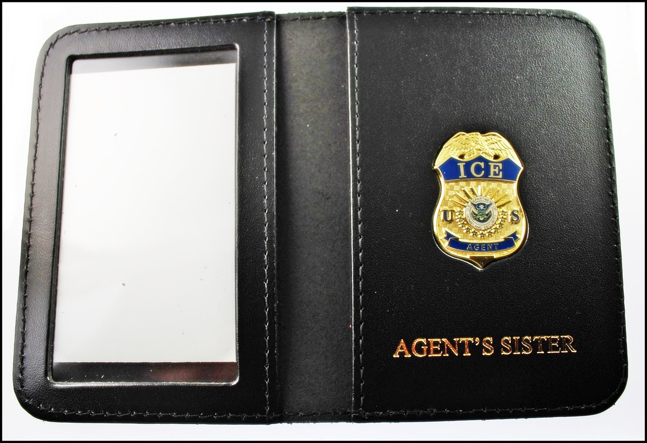 Immigration and Customs Enforcement Agent Mini Badge ID Wallet with Agent's Sister Embossing