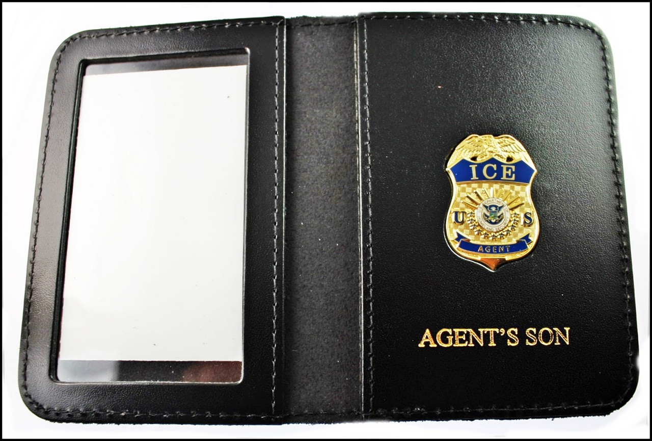 Immigration and Customs Enforcement Agent Mini Badge ID Wallet with Agent's Son Embossing