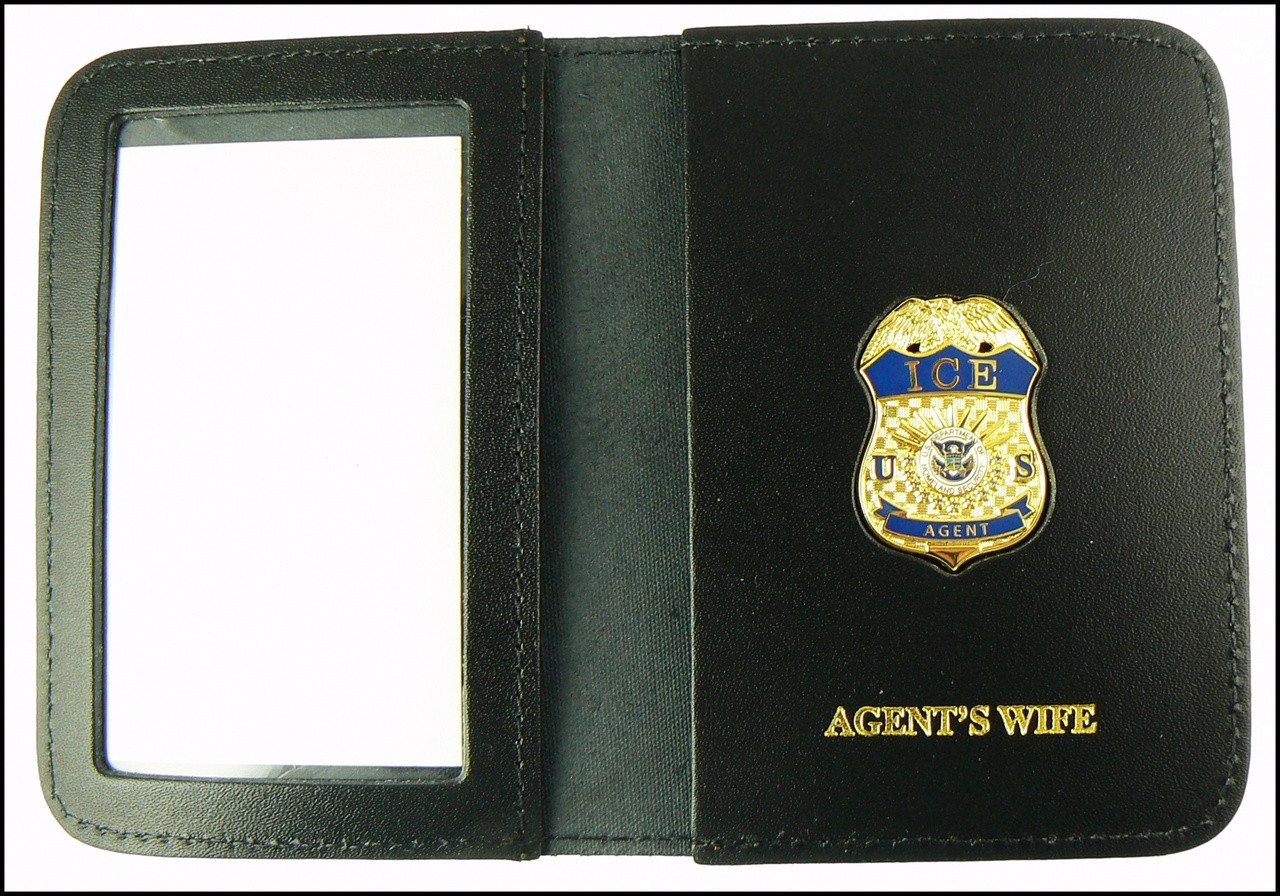 Immigration and Customs Enforcement Agent Mini Badge ID Wallet with Agent's Wife Embossing