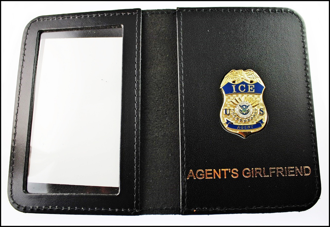 Immigration and Customs Enforcement Agent Mini Badge ID Wallet with Agent's Girlfriend Embossing