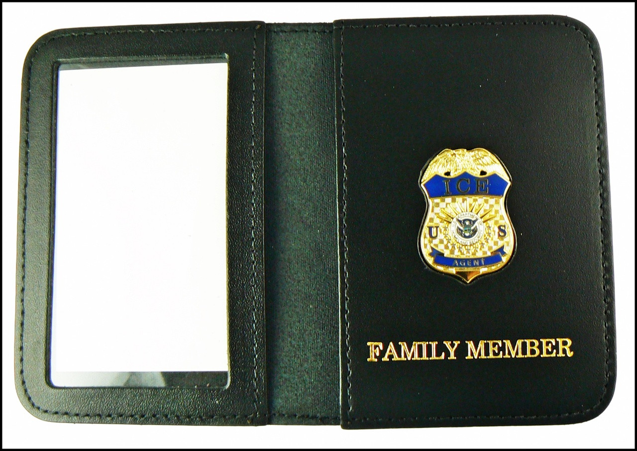 Immigration and Customs Enforcement Agent Mini Badge ID Wallet with Family Member Embossing