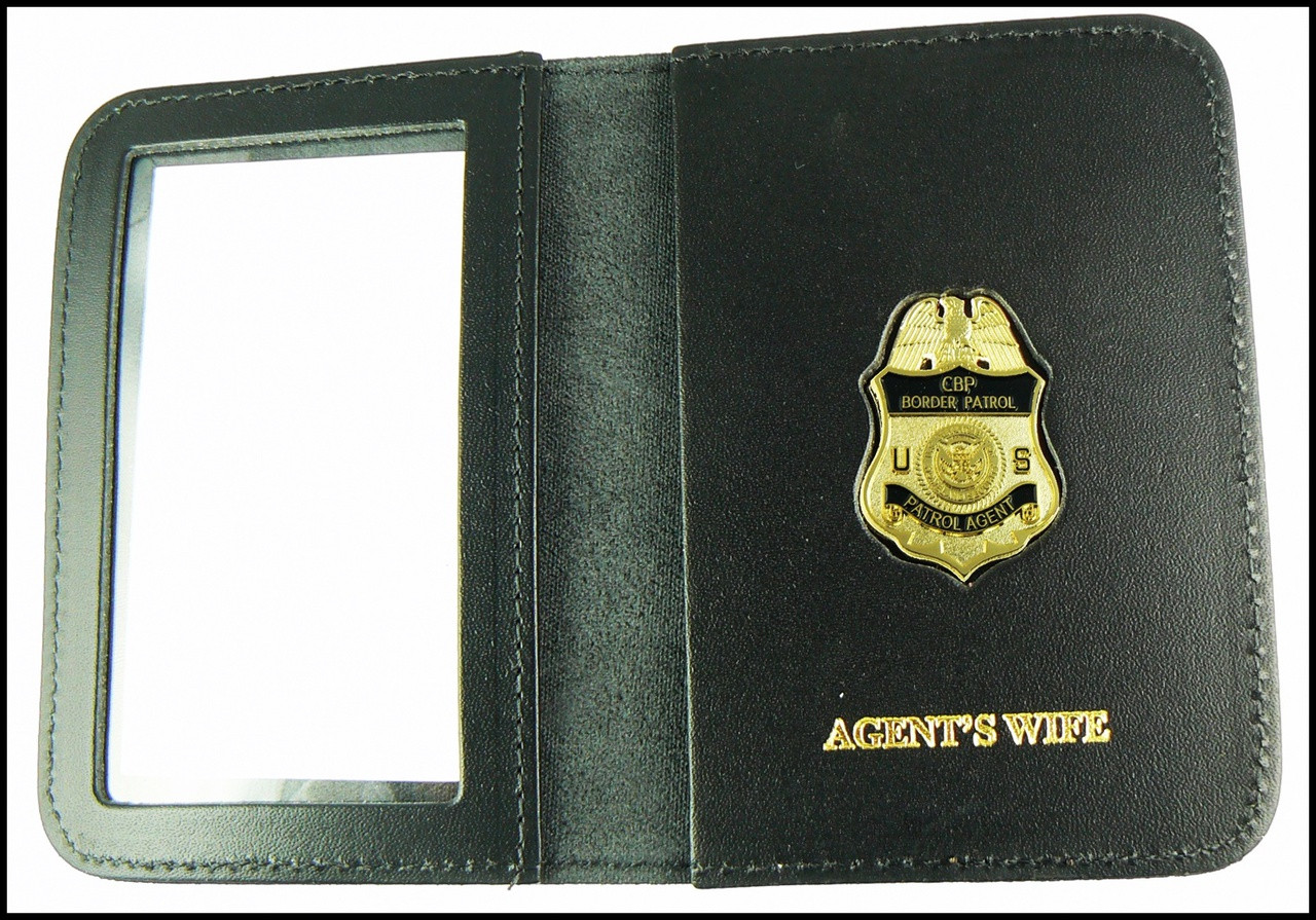 US Border Patrol Supervisor Mini Badge ID Card Holder Case with Agent's Wife Embossing