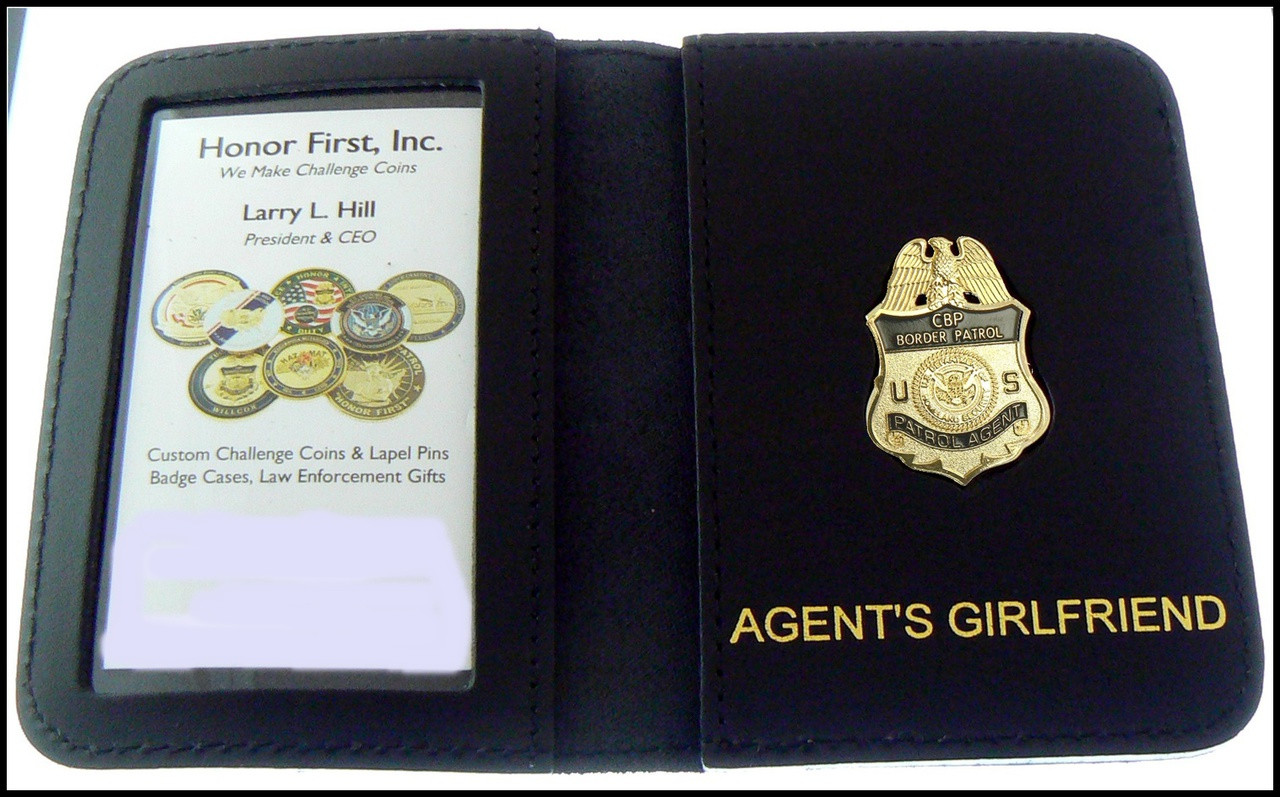 US Border Patrol Supervisor Mini Badge ID Card Holder Case with Agent's Girlfriend Embossing