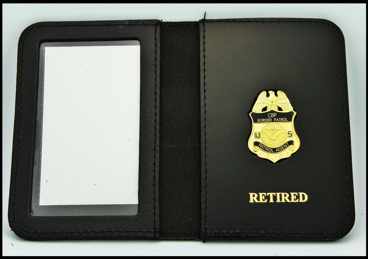 US Border Patrol Agent Mini Badge ID Card Holder Case with Retired Embossing