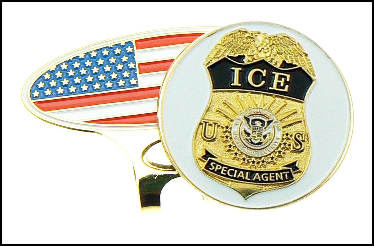USA Flag Golf Hat Clip and Immigration and Customs Enforcement Golf Ball Marker