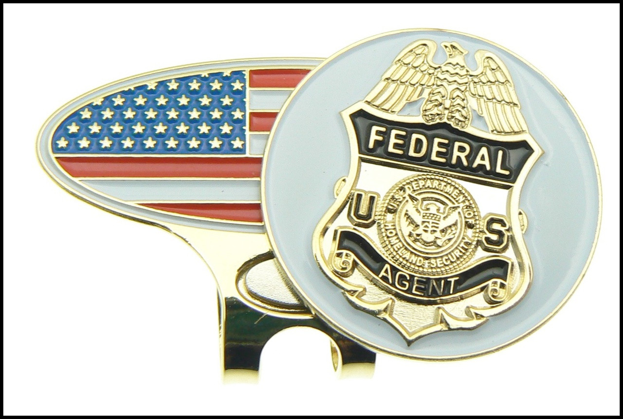 USA Flag Golf Hat Clip and Federal Agent Golf Ball Marker