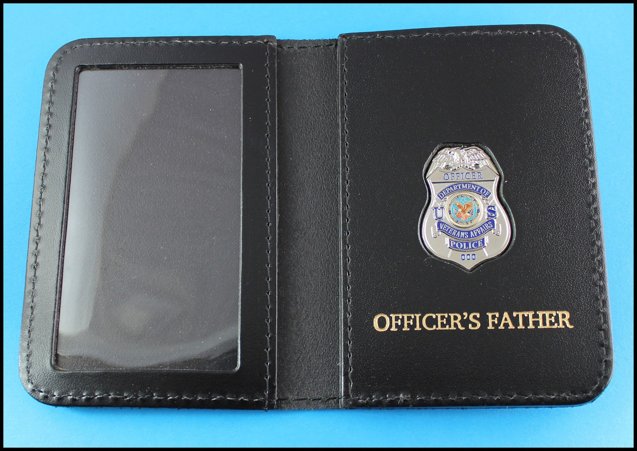 Dept. of Veterans Affairs Police Officer Mini Badge ID Card Holder Case with Officers Father Embossing