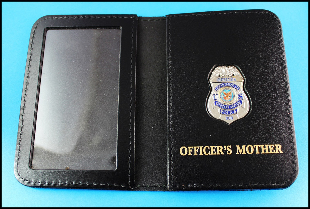 Dept. of Veterans Affairs Police Officer Mini Badge ID Card Holder Case with Officers Mother Embossing