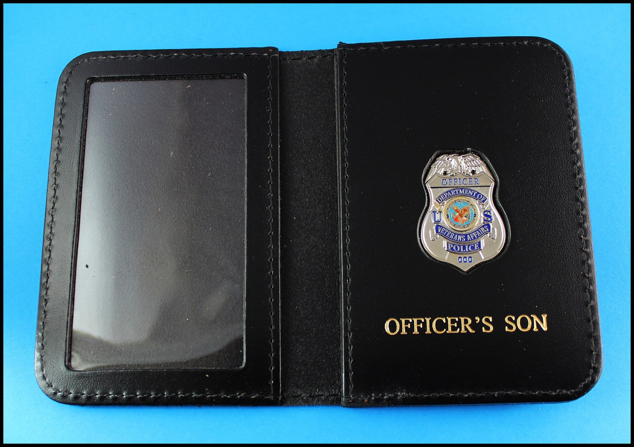 Dept. of Veterans Affairs Police Officer Mini Badge ID Card Holder Case with Officers Son Embossing