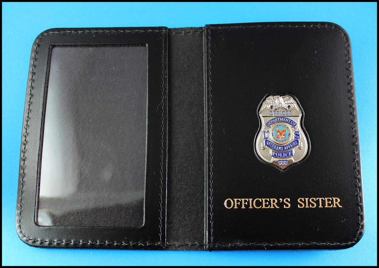 Dept. of Veterans Affairs Police Officer Mini Badge ID Card Holder Case with Officers Siser Embossing