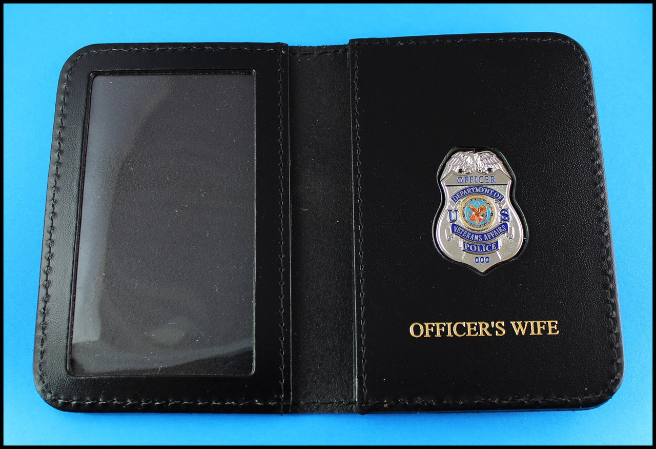 Dept. of Veterans Affairs Police Officer Mini Badge ID Card Holder Case with Officers Wife Embossing