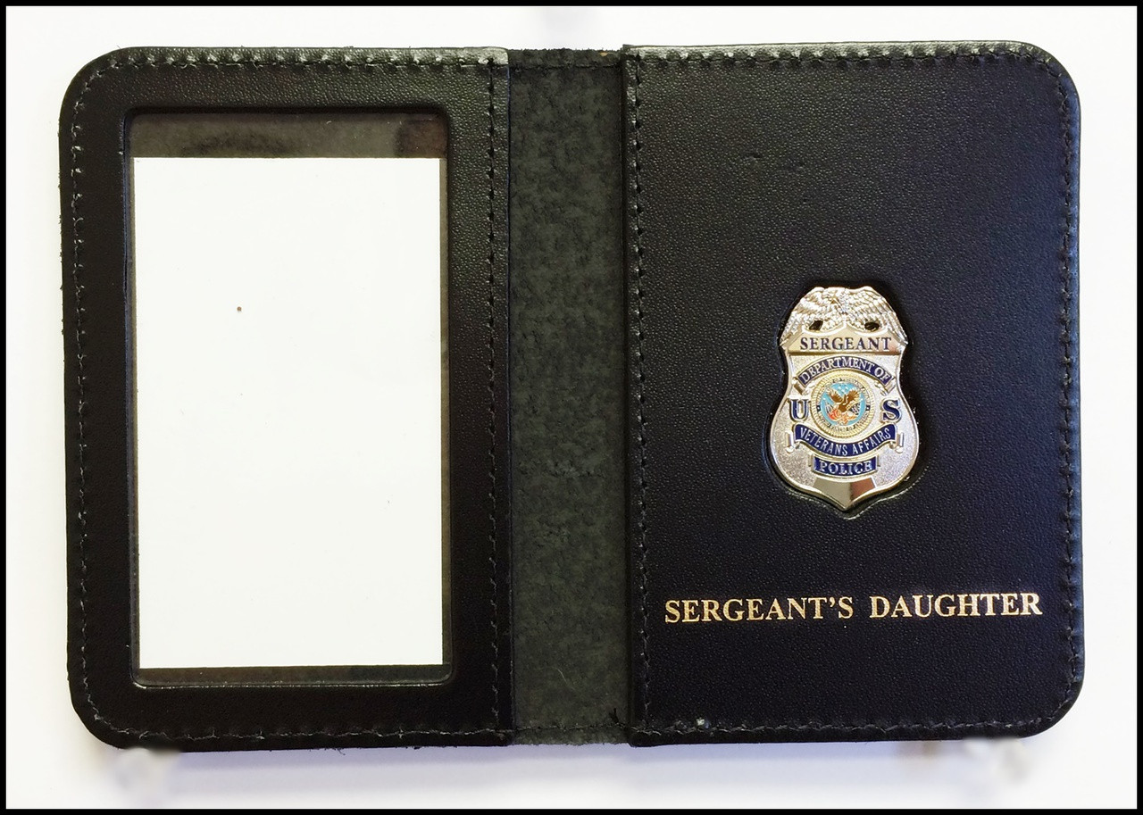 Dept. of Veterans Affairs Police Sergeant Mini Badge ID Card Holder Case with Sergeants Daughter Embossing