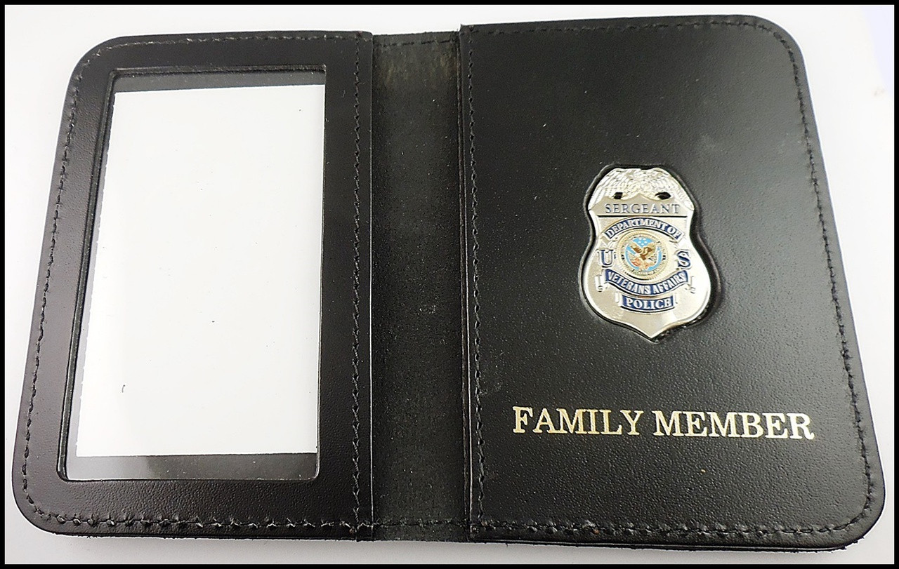 Dept. of Veterans Affairs Police Sergeant Mini Badge ID Card Holder Case with Family Member Embossing