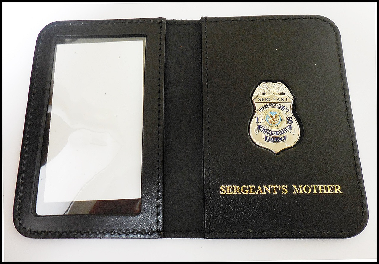 Dept. of Veterans Affairs Police Sergeant Mini Badge ID Card Holder Case with Sergeants Mother Embossing