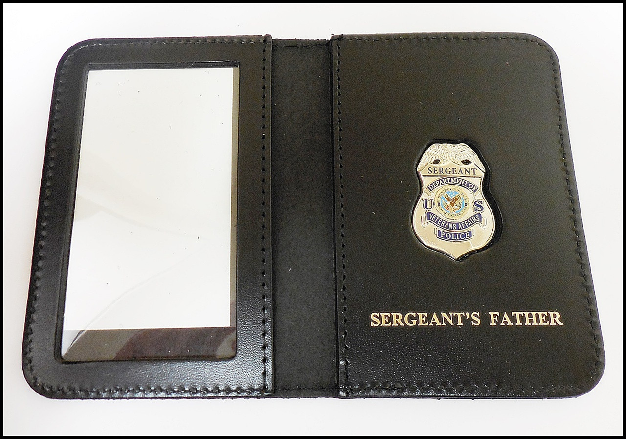 Dept. of Veterans Affairs Police Sergeant Mini Badge ID Card Holder Case with Sergeants Father Embossing
