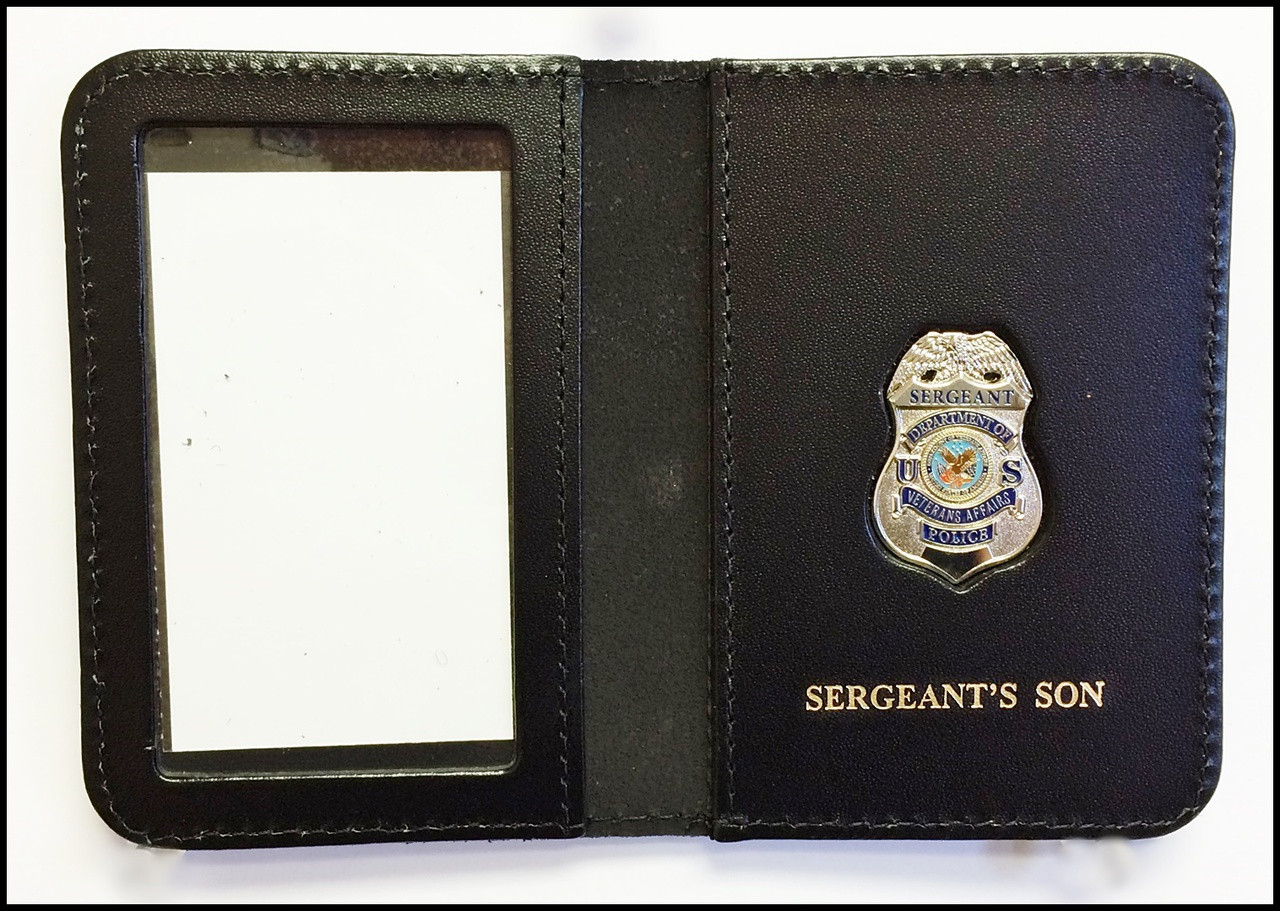 Dept. of Veterans Affairs Police Sergeant Mini Badge ID Card Holder Case with Sergeants Son Embossing