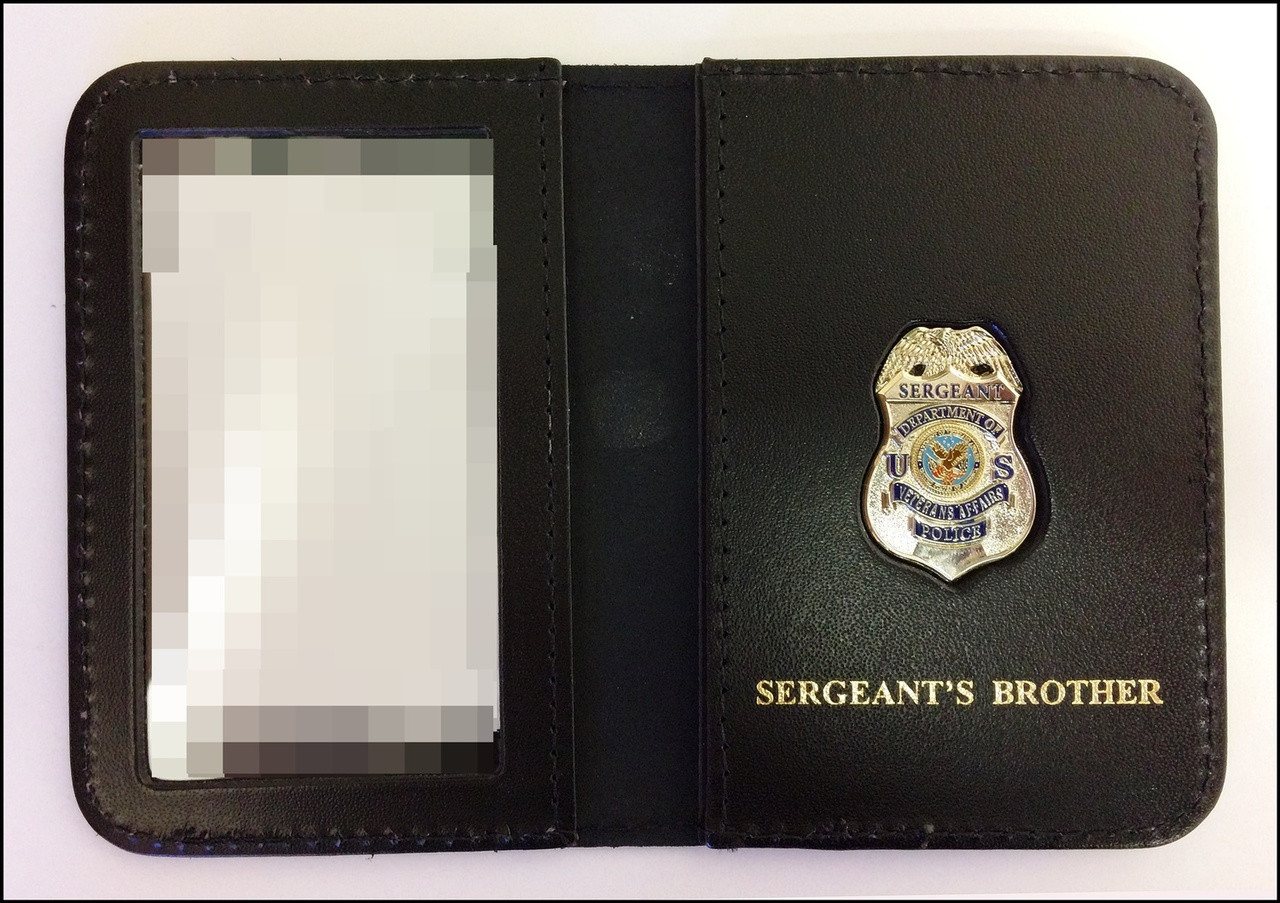 Dept. of Veterans Affairs Police Sergeant Mini Badge ID Card Holder Case with Sergeants Brother Embossing