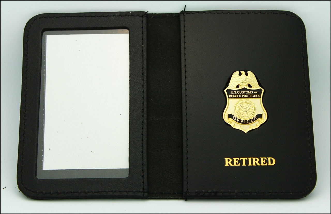 Customs and Border Protection Officer Mini Badge ID Case - Retired Embossing