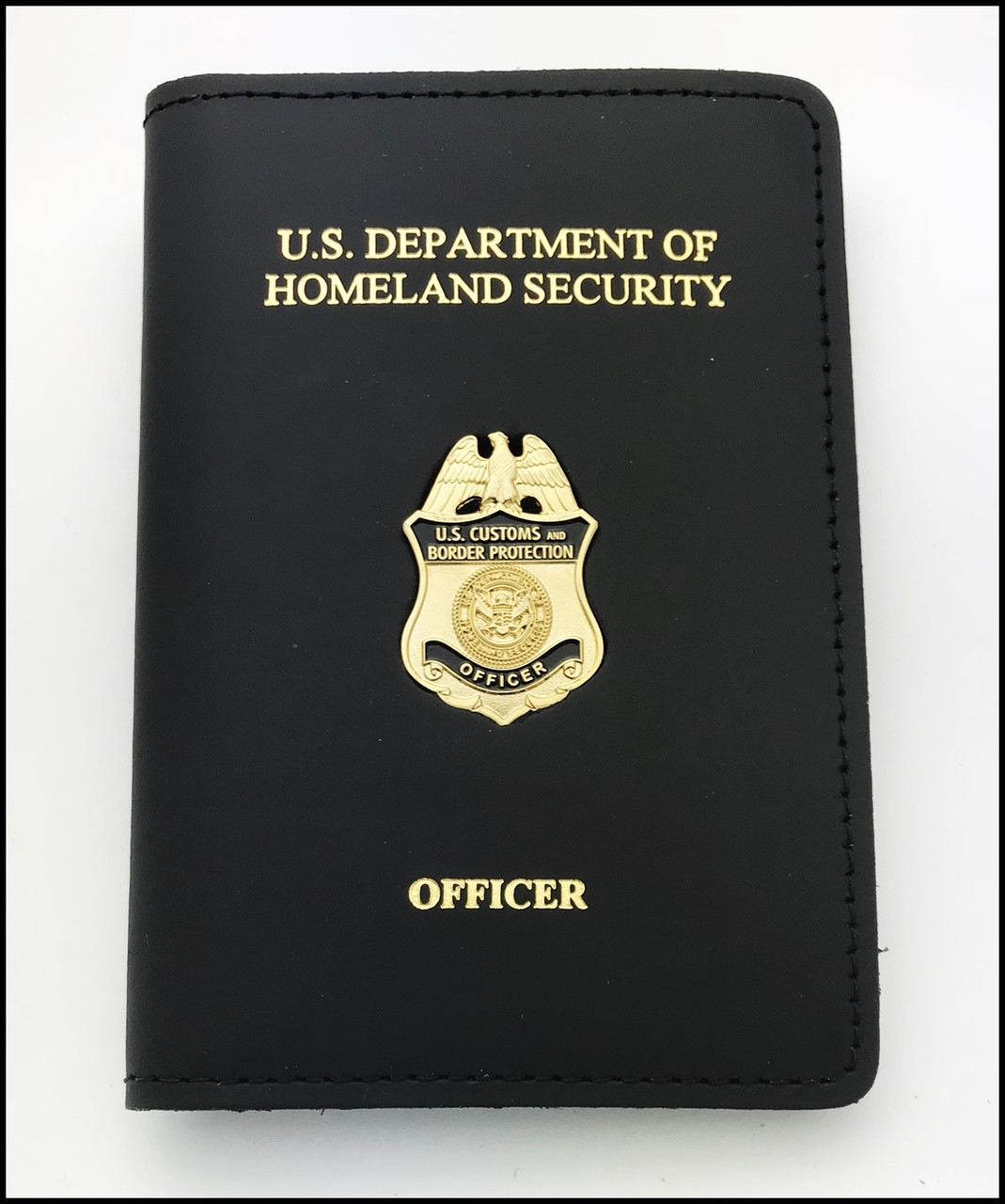 Customs and Border Protection Officer Mini Badge Credential Case - DHS & Officer Embossing