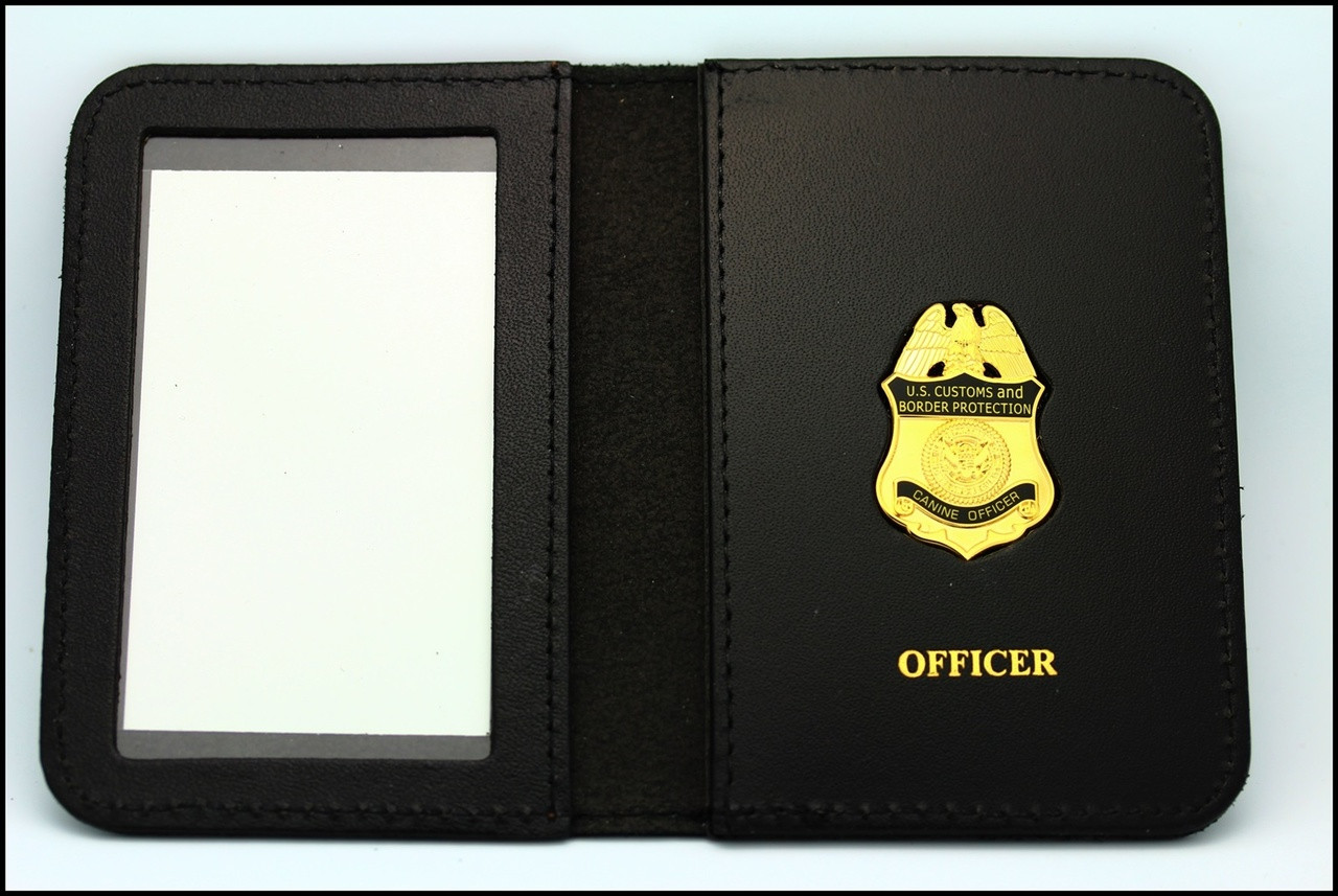 Customs and Border Protection Canine Officer Mini Badge ID Case - Officer Embossing