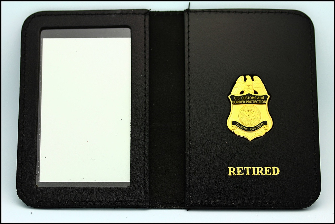 Customs and Border Protection Canine Officer Mini Badge ID Case - Retired Embossing