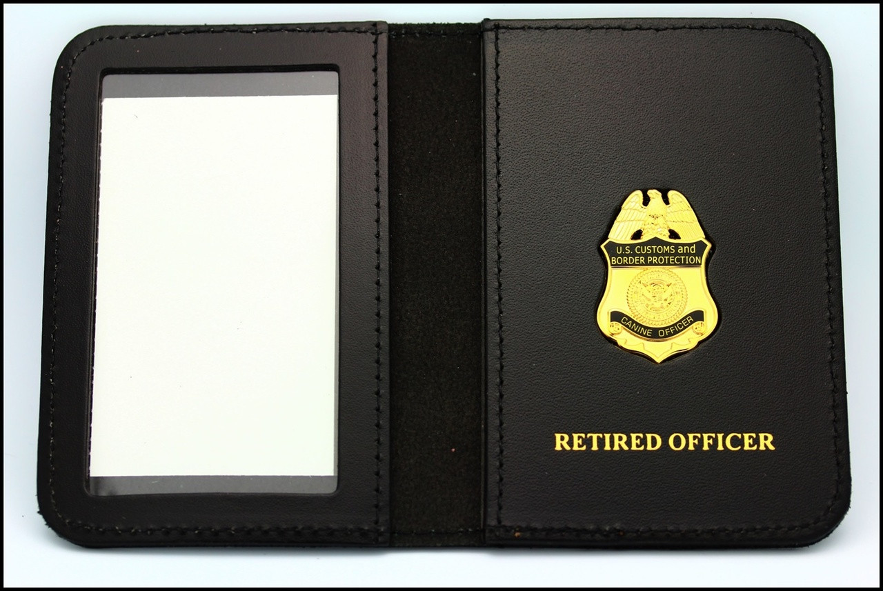 Customs and Border Protection Canine Officer Mini Badge ID Case - Retired Officer Embossing