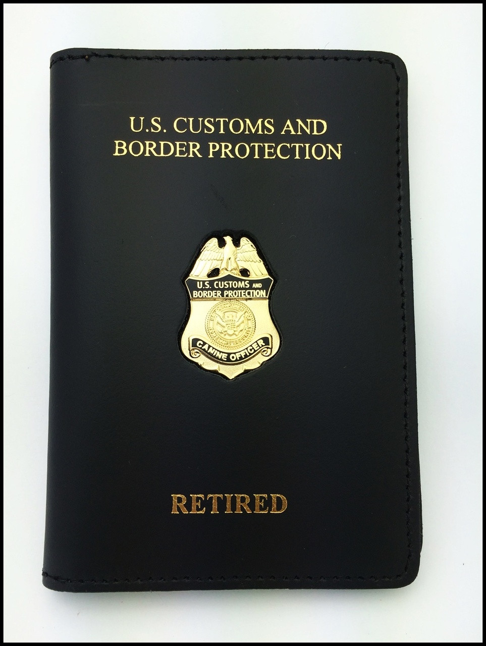 Customs and Border Protection Canine Officer Mini Badge Credential Case - CBP & Retired Embossing